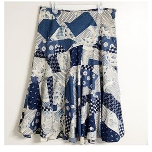 Ralph Lauren Blue Patchwork Modest Midi Skirt 12
